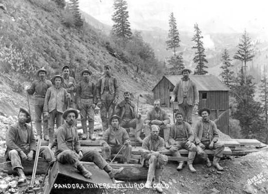 Miners outside the Pandora Mine near Telluride